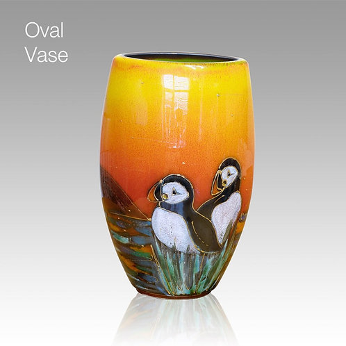 Painted to order each one unique allow 14 days Puffin Island Oval Vase 16cm