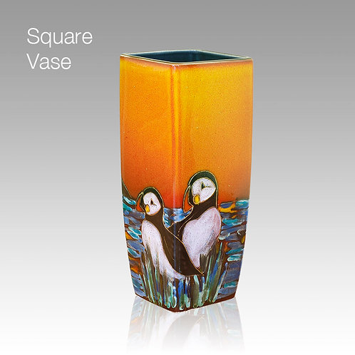 Puffin Island Large Square Vase 25cm