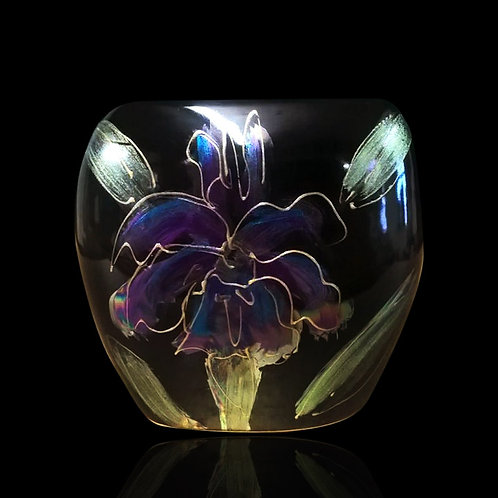 Black Iris Lustre Mini Purse Vase 8cm allow 21days