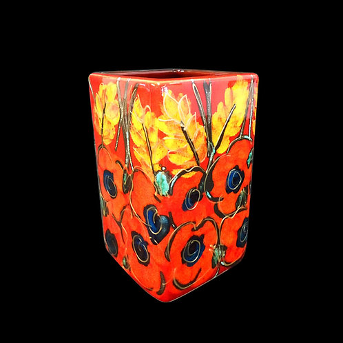 Poppy Field Small Square 12cm Vase