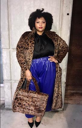 Cheetah Print Fuzzy Fur Maxi Coat