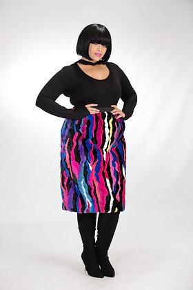 Fur Fitted Midi Skirt