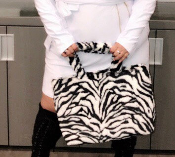 Zebra Faux Fur Tote