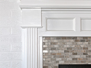 Custom Mantel With Marble Surround