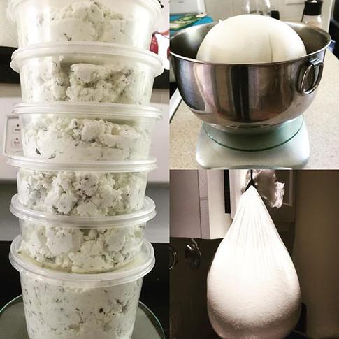 It was milk yesterday but today it's chèvre! #mainefarmlife #chevre #goatcheese #mainecheese #cheese