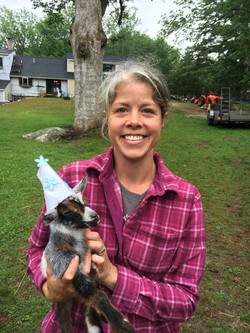 crystal and baby goat with hat