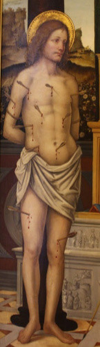 St. Sebastian, detail in a Madonna and Child frieze by a Lombard painter, C1510.