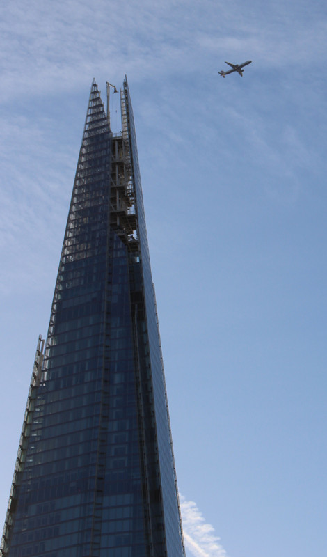 Flying into London [the Shard]