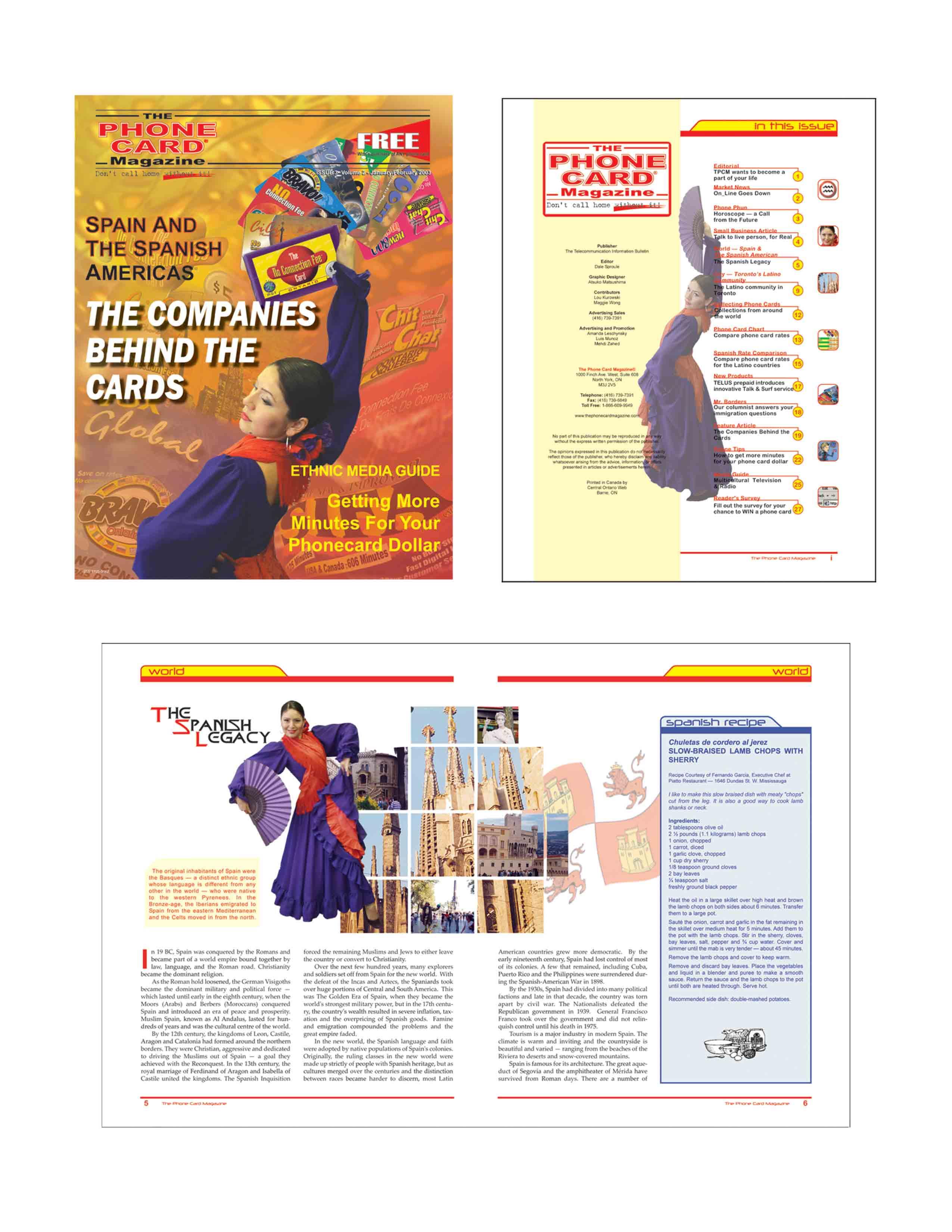 The Phone Card Magazine layout