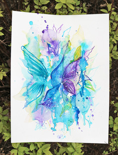 Explosion Of Freedom Watercolour Drawing, Purple and Turquoise Butterflies