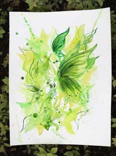 Dancing In Peace Watercolour Drawing, Green Butterflies
