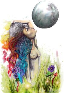 The Moon Goddess Mixed media Drawing