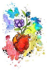"""""""Flourishing Heart"""" Mixed media illustartion"""