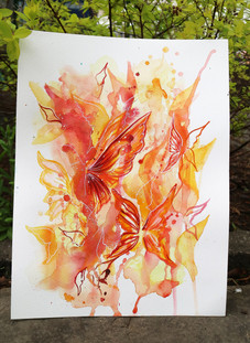 In Harmony With Love Watercolour Drawing, Red and Orange Butterflies