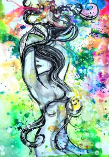 """Devine feminine "" Original watercolours and mixed media"