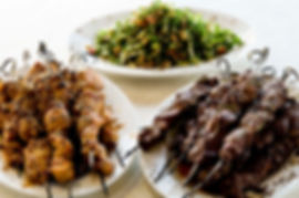 Grilled Chicken and Lamb Skewers with Middle eastern Salad