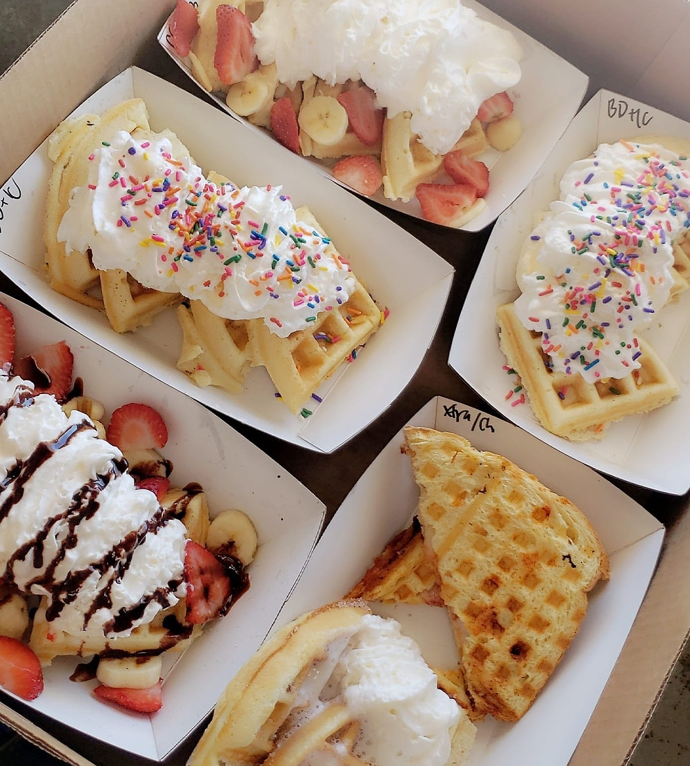 This is a photo of different waffles from a food truck called With Love Waffles located in Albuquerque, NM.