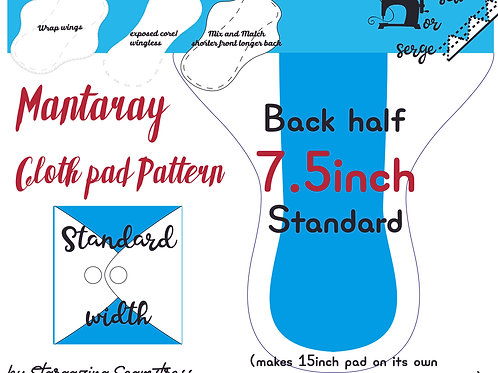 Mix n match 7.5inch half Back Mantaray Pad Pattern, wrapped wing, Standard width