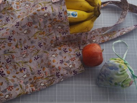 How to sew reusable shopping bag, eco friendly sewing tutorial and pattern