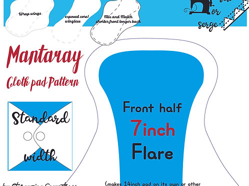 Mix n match 7inch half Front Flare Mantaray Pad Pattern, wrapped wing, Standard