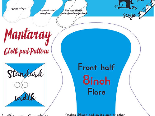 Mix n match 8inch half Front Flare Mantaray Pad Pattern, wrapped wing, Standard