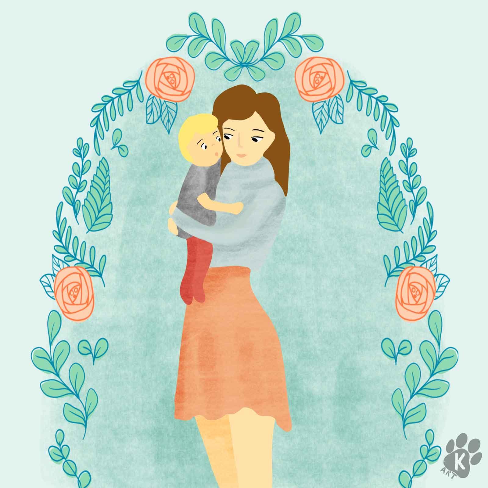 mum and child comission portrait