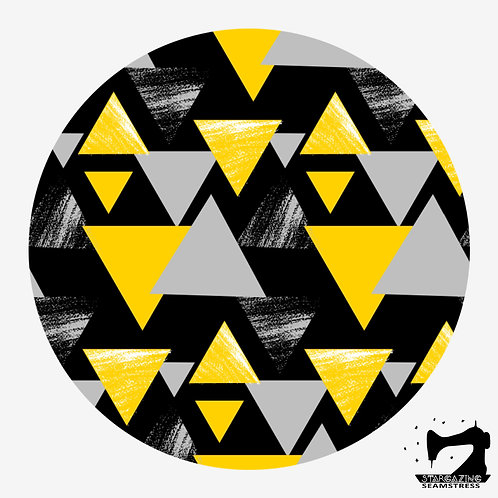 Modern Triangles Gray and Yellow Seamless Pattern, Digital Download