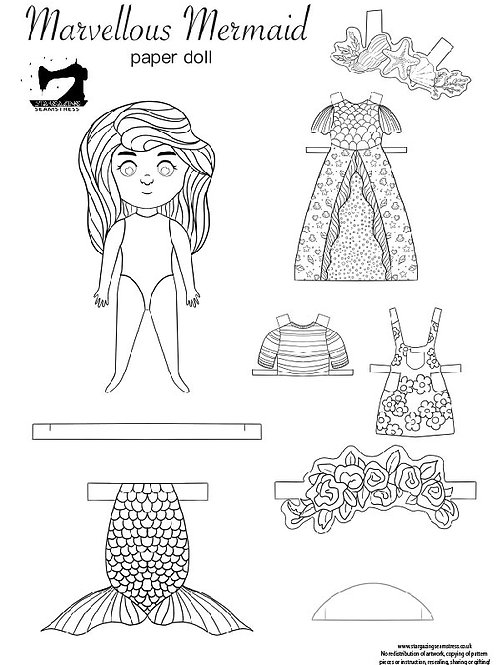 Mervellos Mermaid colouring paper doll with clothes printable