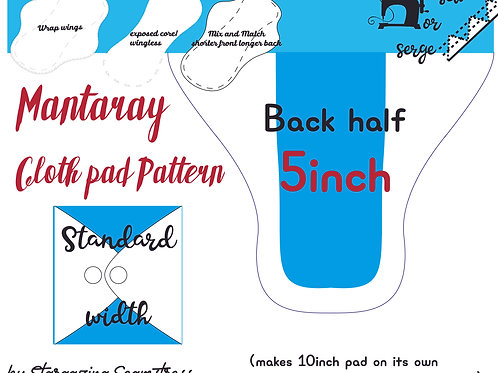 Mix n match 5inch half Back Mantaray Pad Pattern, wrapped wing, Standard width