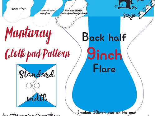 Mix n match 9inch half Back Flare Mantaray Pad Pattern, wrapped wing, Standard