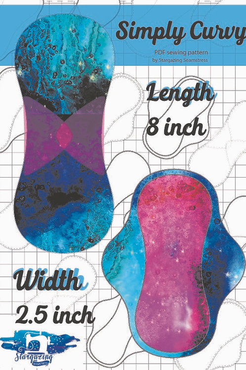 8inch x 2.5 inch wide Cloth Pad Pattern, Simply Curvy, PDF Sewing Patte