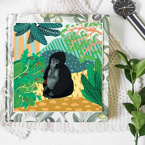 Glicee art print poster, monkey poster, apes in rainforest, wall art, jungle art