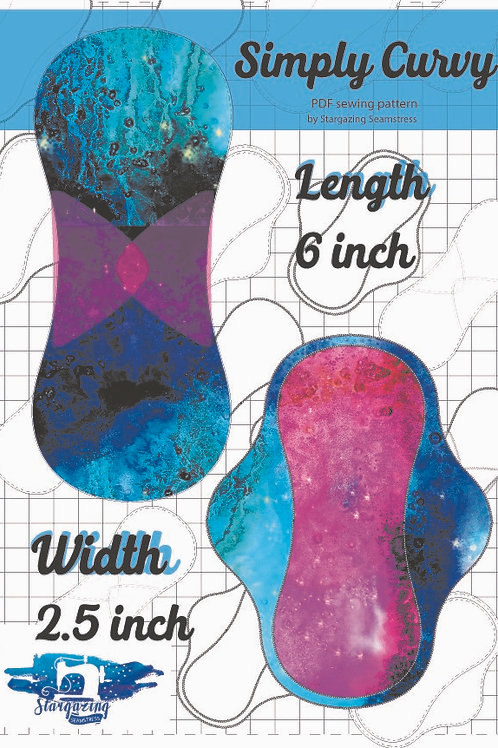 6inch x 2.5 inch wide Cloth Pad Pattern, Simply Curvy, PDF Sewing Patte