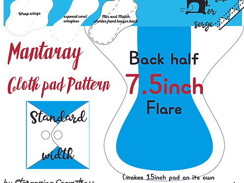 Mix n match 7.5inch half Back Flare Mantaray Pad Pattern, wrapped wing, Standard