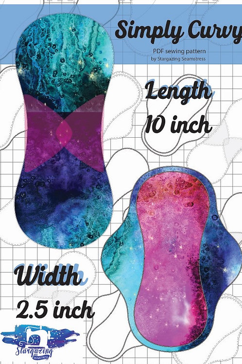 10inch x 2.5 inch wide Cloth Pad Pattern, Simply Curvy, PDF Sewing Pattern