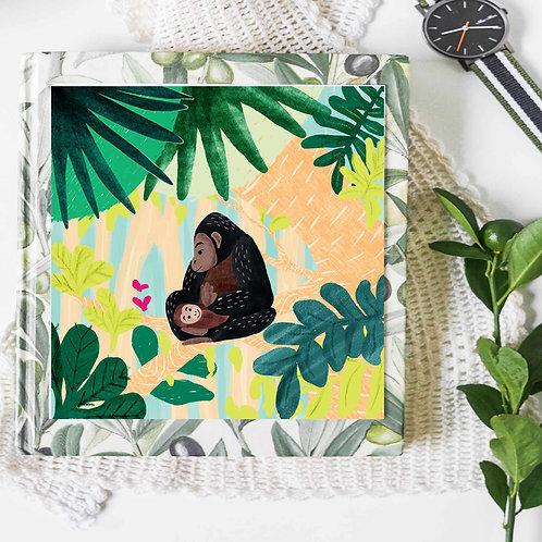chimpanzee mum Glicee art print poster, monkey poster, apes in rainforest, wa
