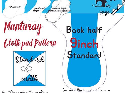 Mix n match 9inch half Back Mantaray Pad Pattern, wrapped wing, Standard width