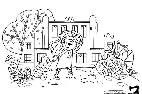 Colouring page girl with a cat