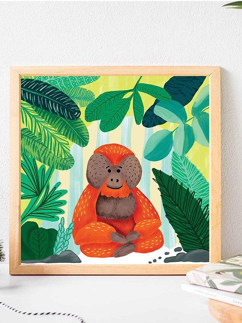 Orangutan Glicee art print poster, monkey poster, apes in rainforest, wall art