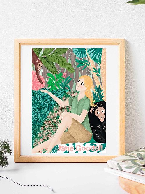 Glicee art print poster,Jane Goodall portrait, orangutan, famous