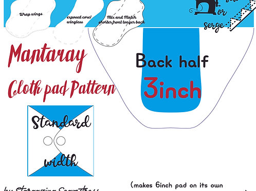 Mix n match 3inch Back Mantaray Pad Pattern, wrapped wing, Standard width