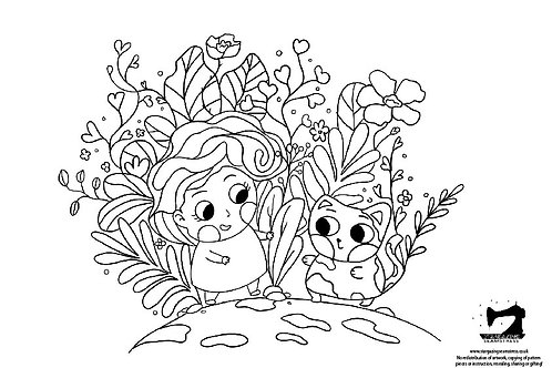 Colouring page cat hugs