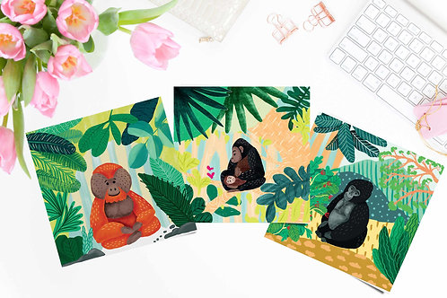 Set of 3 Glicee art print poster, monkey poster, apes in rainforest, wall art