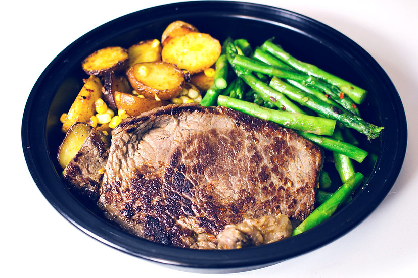 Sirloin steak with roasted baby potatoes