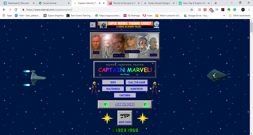 captain marvel website design