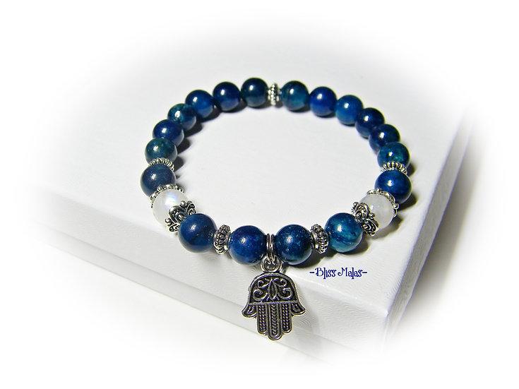Yoga Stretch Bracelet, Mala Bracelet, Apatite, Rainbow Moonstone