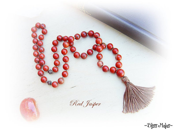 Mala Prayer Beads 54, Half Size, Red Jasper, Yoga, Meditation, Japa, Mantra