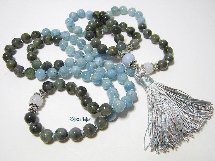 Mala Prayer Beads 108 Hand-knotted, Aquamarine, Labradorite, Rainbow Moonstone