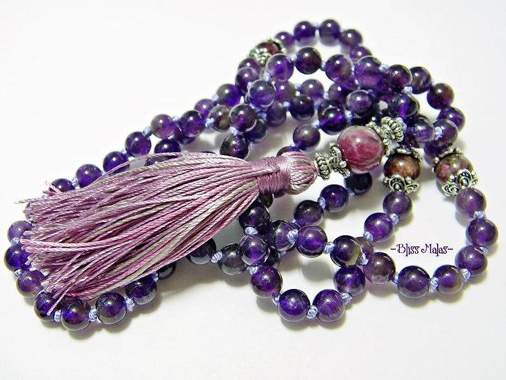 Mala Prayer Beads 108, 6mm Amethyst, Tourmaline, Rubellite, Spiritual Jewelry