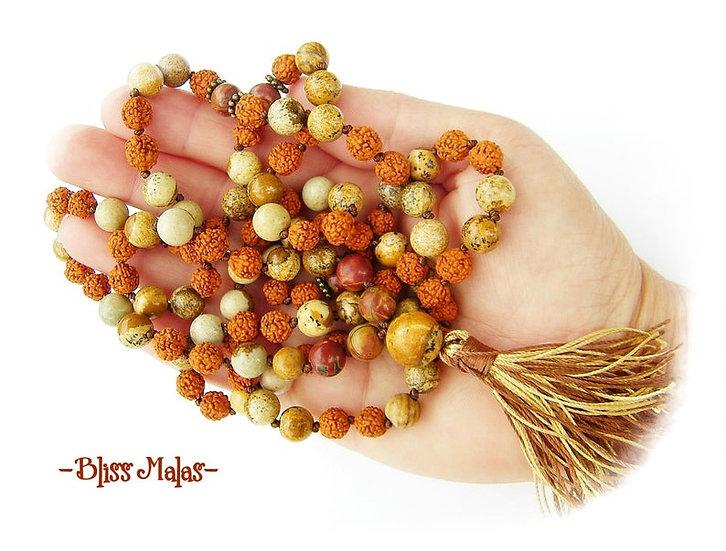 Mala Beads 108, Rudraksha, Picture Jasper, Picasso Jasper, Yoga